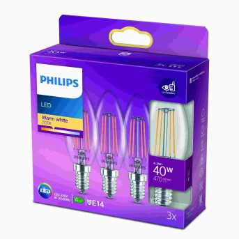 Philips LED 3er Pack E14 40 Watt 2700 Kelvin 470 Lumen