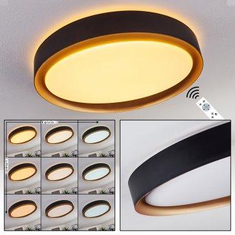 Beade Deckenleuchte LED Schwarz, Gold, 1-flammig, Fernbedienung