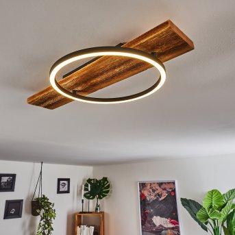Pompu Deckenleuchte LED Schwarz, Holz dunkel, 1-flammig