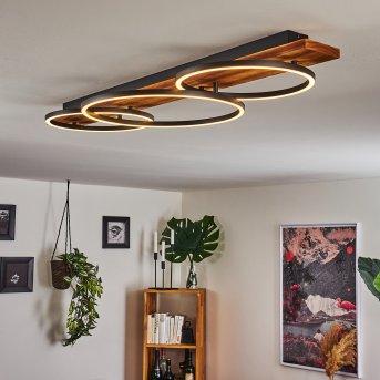 Pompu Deckenleuchte LED Schwarz, Holz dunkel, 3-flammig