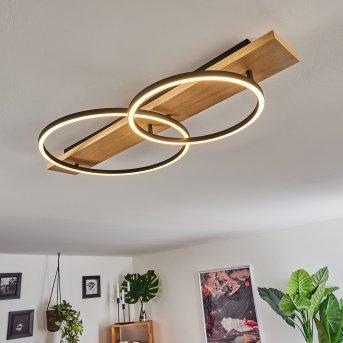 Pompu Deckenleuchte LED Schwarz, Holz hell, 2-flammig