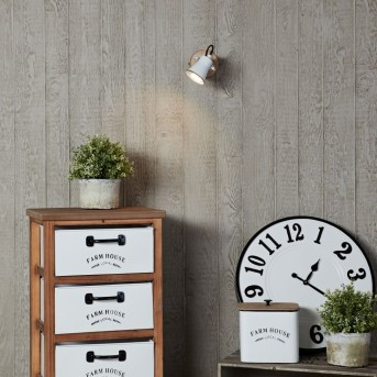 Brilliant Seed Wandspot Weiß, Holz dunkel, 1-flammig