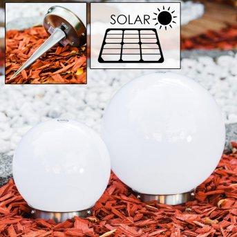 Kugelleuchten Set Solar LED Edelstahl, 2-flammig