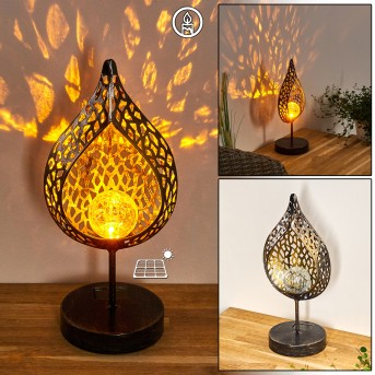 Protaras Solarleuchte LED Schwarz-Gold, 1-flammig