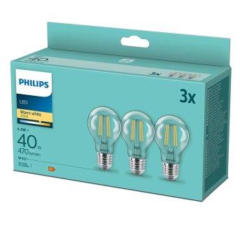 Philips 3er Set LED E27 4,3 Watt 2700 Kelvin 470 Lumen