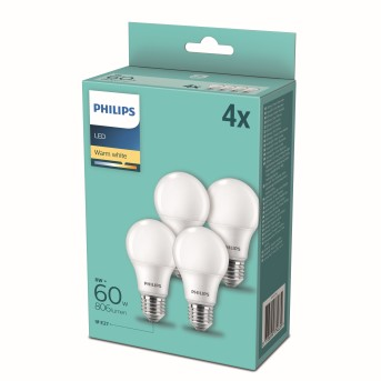 Philips LED 4er Pack E27 8 Watt 2700 Kelvin 806 Lumen