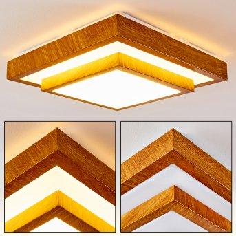 Sora Wood Deckenleuchte LED Weiß, Holz hell, 1-flammig