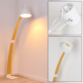 Higashi Stehleuchte Weiß, Holz hell, 1-flammig