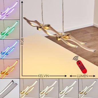 Gamsen Pendelleuchte LED Stahl gebürstet, 3-flammig, Fernbedienung, Farbwechsler