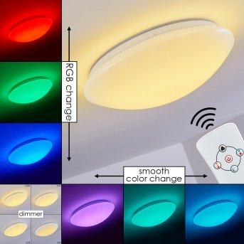 Brighton Deckenleuchte LED Weiß, 1-flammig, Fernbedienung, Farbwechsler