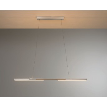 Bopp Link Pendelleuchte LED Nickel-Matt, Holz dunkel, 1-flammig