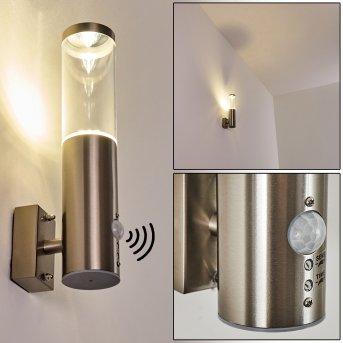 Noreaz Außenwandleuchte LED Edelstahl, 1-flammig, Bewegungsmelder