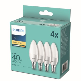 Philips LED 4er Pack E14 5,5 Watt 2700 Kelvin 470 Lumen