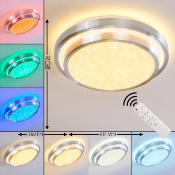 Mirabeau Deckenleuchte LED Aluminium, 2-flammig, Fernbedienung, Farbwechsler