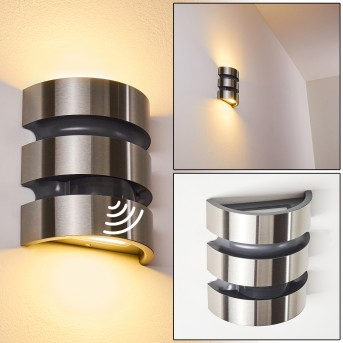 Kolding Außenwandleuchte LED Schwarz, Edelstahl, 1-flammig, Bewegungsmelder