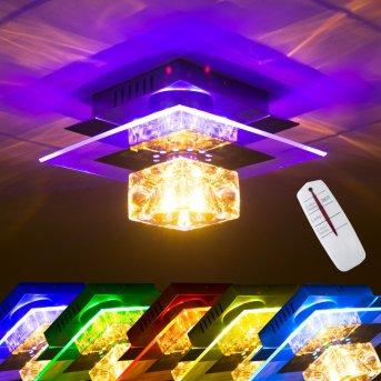 Christy Decken- und Wandleuchte Chrom, Transparent, Klar, 1-flammig, Farbwechsler