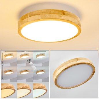Bagaha Deckenleuchte LED Holz hell, 1-flammig, Fernbedienung