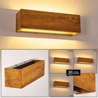 Adak Wandleuchte LED Holz dunkel, 1-flammig