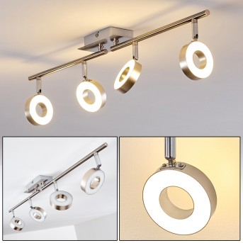 Russell Deckenspot LED Nickel-Matt, Chrom, 4-flammig