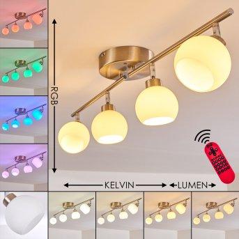 Motala Deckenleuchte LED Nickel-Matt, 4-flammig, Fernbedienung, Farbwechsler