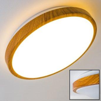 Sora Wood Deckenlampe LED Weiß, Holz hell, 1-flammig