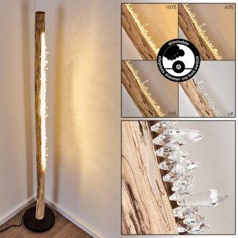 Rodeche Stehleuchte LED Schwarz, Holz hell, 1-flammig
